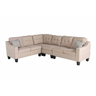 """Oliver Smith - Large Light Beige Linen Cloth Modern Contemporary Upholstered Quality Sectional Left or Right Adjustable Sectional 106"""" x 82.5"""" x 34"""""""