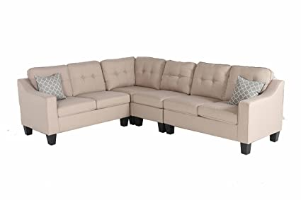 Oliver Smith   Large Light Beige Linen Cloth Modern Contemporary  Upholstered Quality Sectional Left Or Right