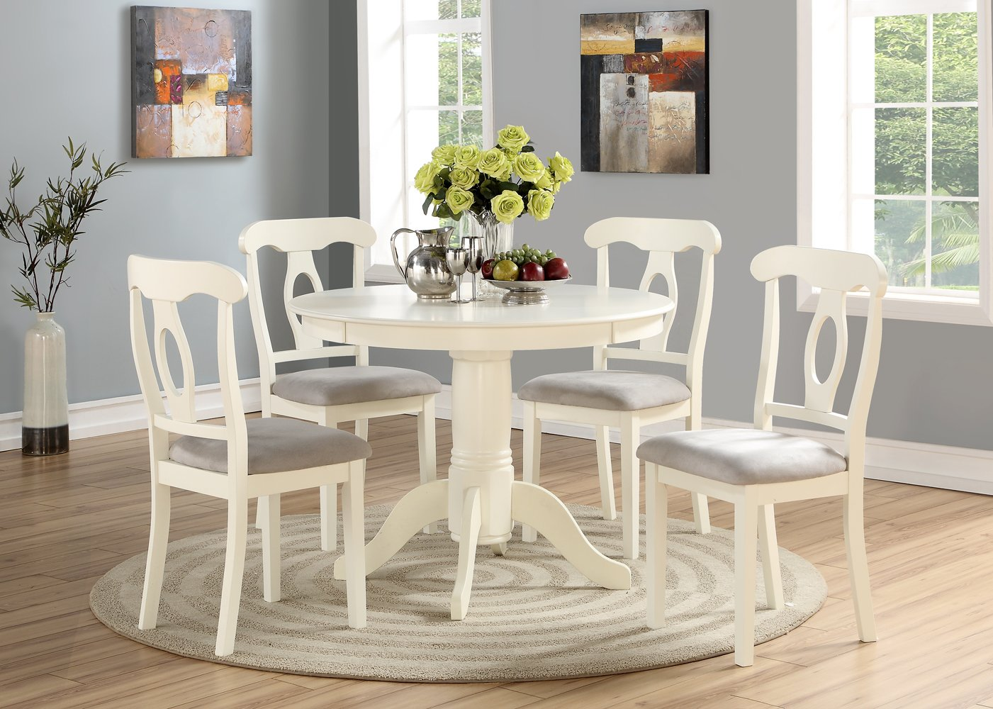 best website f1ea4 8b0e9 Angel Line 23511-21 5 Piece Lindsey Dining Set, White/Gray