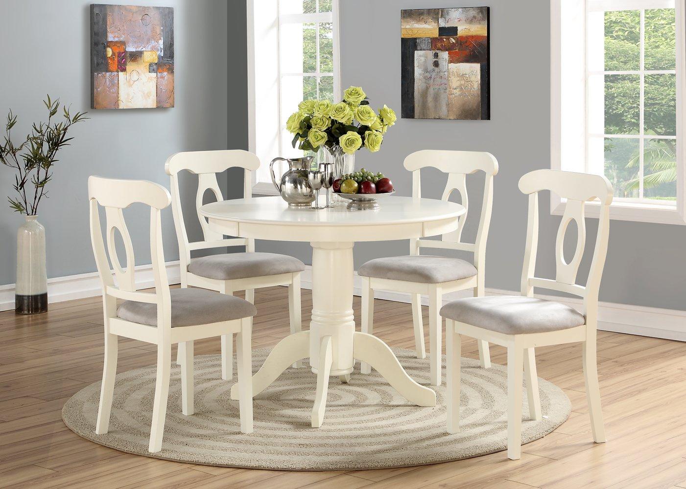 Angel Line 23511-21 5 Piece Lindsey Dining Set, White/Gray
