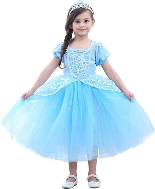 Disney Princess Cinderella Costume Clothes Halloween Kids Girl Xmas Party Dress