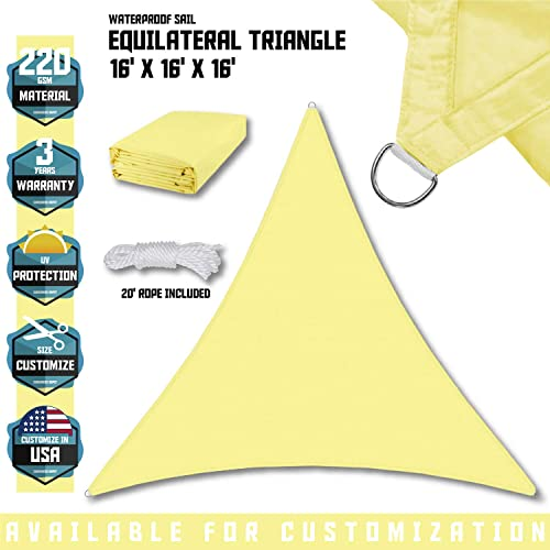 TANG Sunshades Depot 16 x16 x16 Equilateral Triangle Waterproof Terylene Knitted Shade Sail Curved Edge Canary Yellow 220 GSM UV Block Shade Fabric Pergola Carport Awning Canopy Replacement Awning