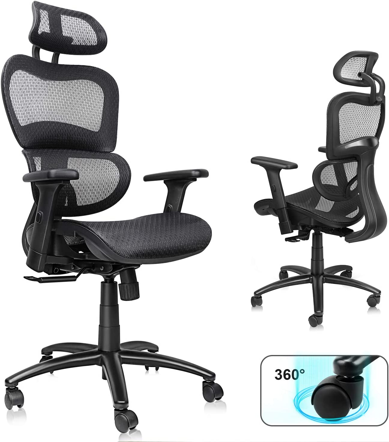 Amazon Com Ergonomic Mesh Office Chair High Back Desk Chair With Adjustable Headrest And 3d Armrests Technical Task Executive Chair With Adjustable Lumbar Support Swivel Chair For Home Office Black Kitchen