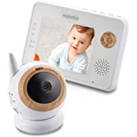 Nannio Eye Baby Monitor with Tripod Screw Hole, Adjustable Magnetic Base, 3.5-inch Screen, Infrared Night Vision, Two Way Talk, Wooden Decoration, Long Range Transmission