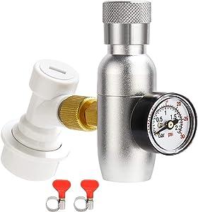 MRbrew Keg Charger Dispenser, Mini 0-30 PSI CO2 Regulator Keg Kit, Portable Cornelius Beer keg Regulator with 3/8'' Thread Adapter & Gas Ball Lock Disconnect & Stainless Steel Hose Clamps