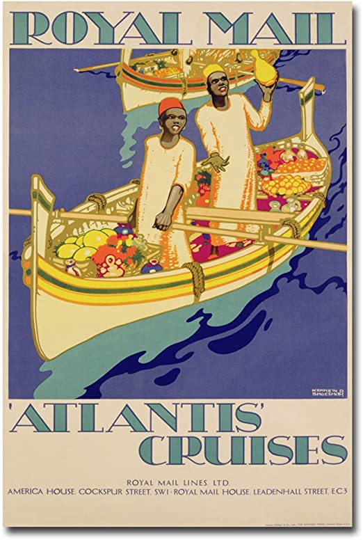 Amazon Com Atlantis Cruises 1930 By Kenneth Shoesmith 16x24 Inch Canvas Wall Art Oil Paintings Posters Prints