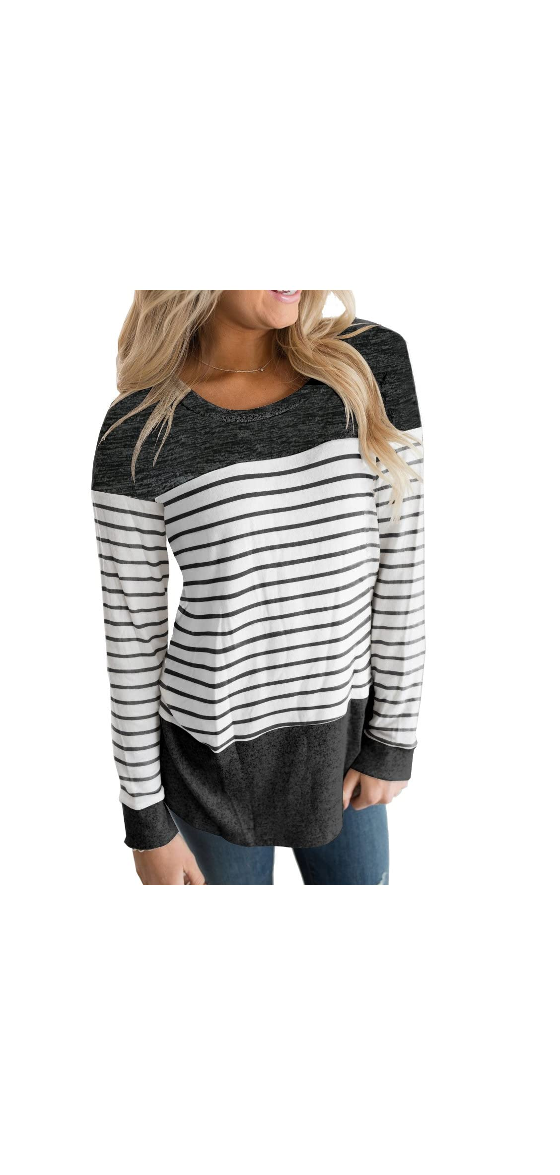 Womens Long Sleeve Round Neck T Shirts Color Block Causal