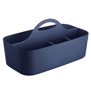 mDesign Badezimmer Korb - 6 Fächer - Organizer Dusche und Bad Aufbewahrung-  Farbe: Marineblau, Material: Kunststoff - Für Duschgel, Shampoo, Rasierer
