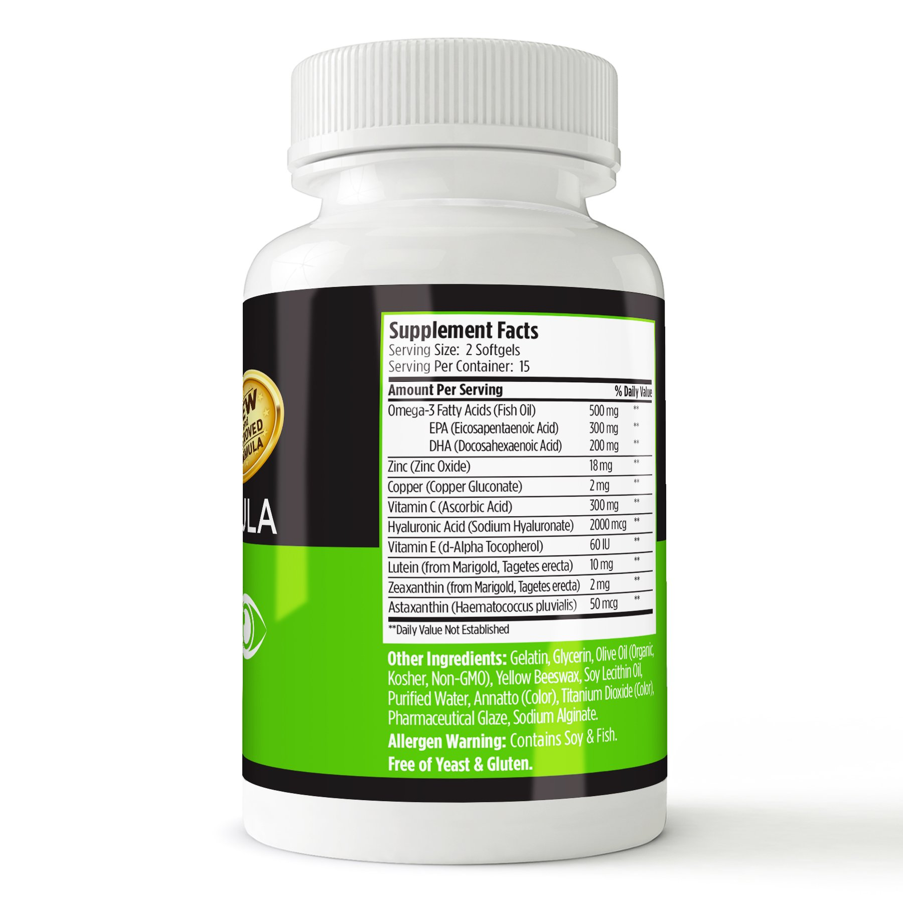 GMPVitas Enteric Coated Eye Formula- High Potency Omega-3 Supplement with Lutein, Astaxanthin Hyaluronic Acid, Vitamin C and E (3) by GMP Vitas (Image #4)
