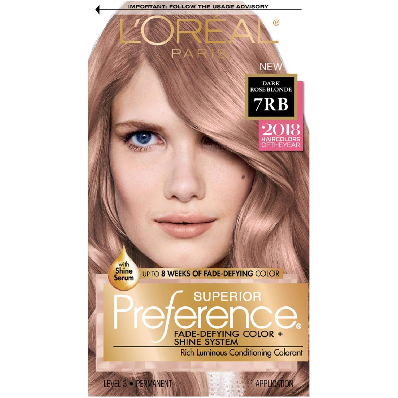 Lorãal Paris Superior Preference Fade Defying Shine Permanent Hair Color 7rb Dark Rose Blonde Hair Dye Kit Pack Of 1