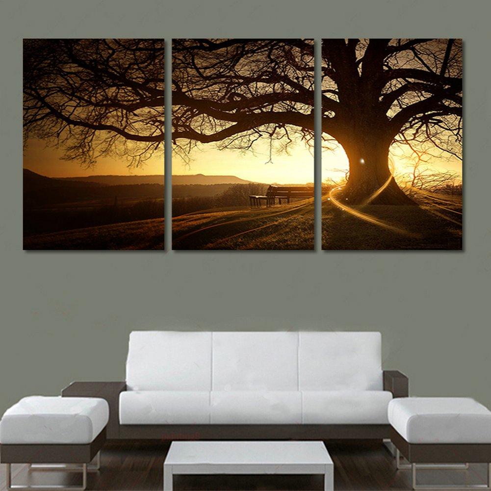 XrsArt 3 moderno panel Impreso árbol Pintura Cuadro Cuadros Sunset ...