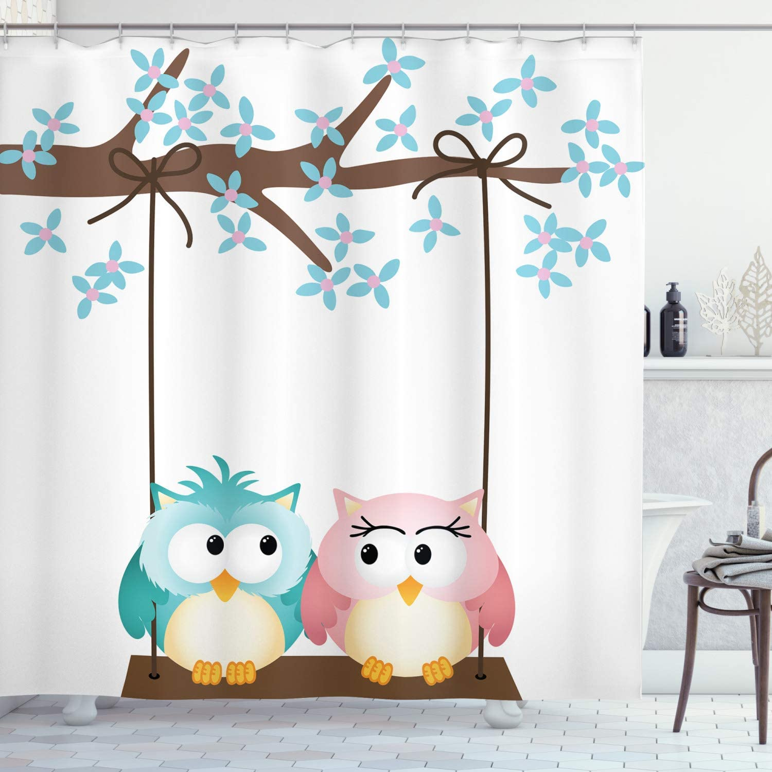 """Ambesonne Nursery Shower Curtain, 2 Owls in Love on a Swing Blossoming Tree Branch Spring Romance, Cloth Fabric Bathroom Decor Set with Hooks, 70"""" Long, Pale Blue"""