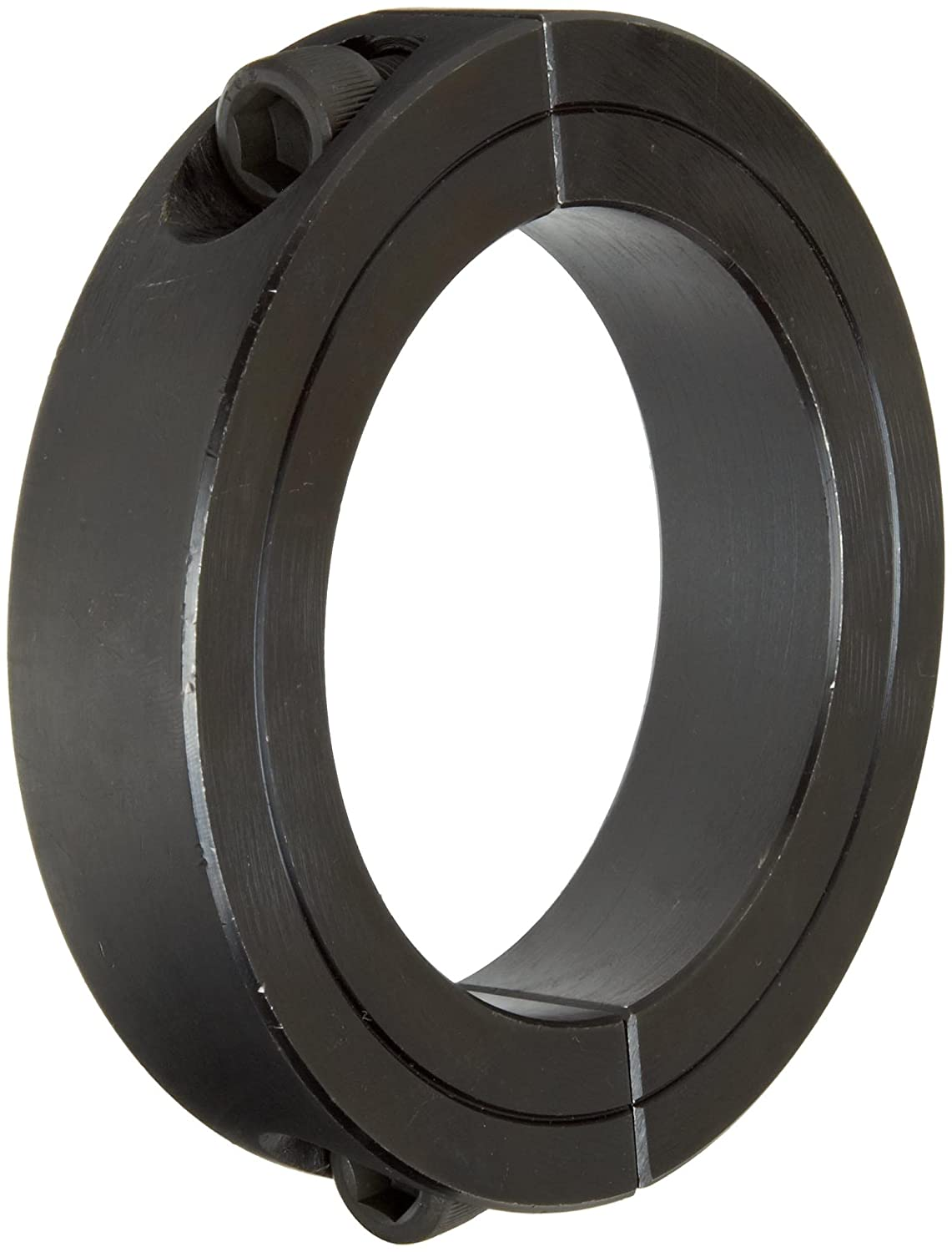 Climax Metal 2C-118 Steel Two-Piece Clamping Collar, Black Oxide Plating, 1-3/16' Bore Size, 2-1/16' OD, With 1/4-28 x 3/4 Set Screw 1-3/16 Bore Size 2-1/16 OD Climax Metal Products