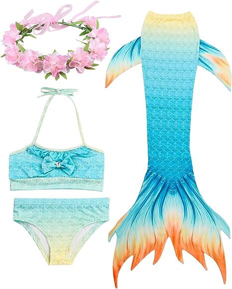 Enfants Memaid Costumes Filles 3pcs Maillot De Bain Top Culotte Sir/ène Queue Maillot De Bain Monofin Flippers Maillot De Bain