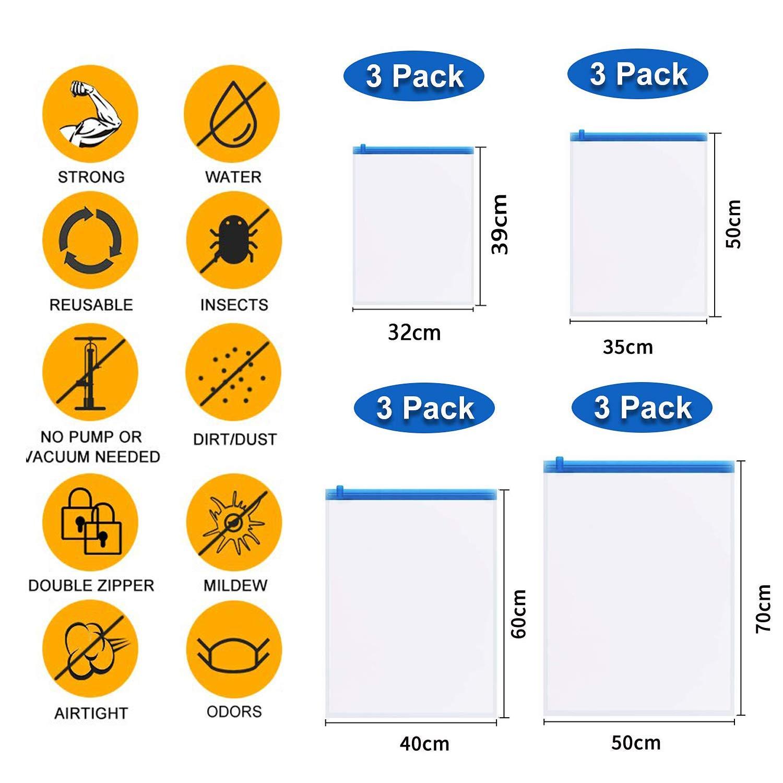 Vakuumbeutel Kleidung Sinwind Reise Vakuumbeutel in 4 Gr/ö/ßen Rollen per Hand ohne Staubsauger Vacuum Storage Bags Kompressionsbeutel f/ür Kleidung 12 TLG Set Vakuum Aufbewahrungsbeutel