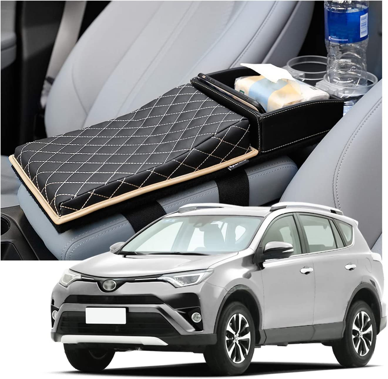 Black Leather Beige Lines Rav4 Interior Accessories,Armrest Pad Cushion Compatible for Toyota Rav4 2019-2020 Armrest Heightening Pad Cover Compatible for Toyota Rav4,Relieve Driving Fatigue.