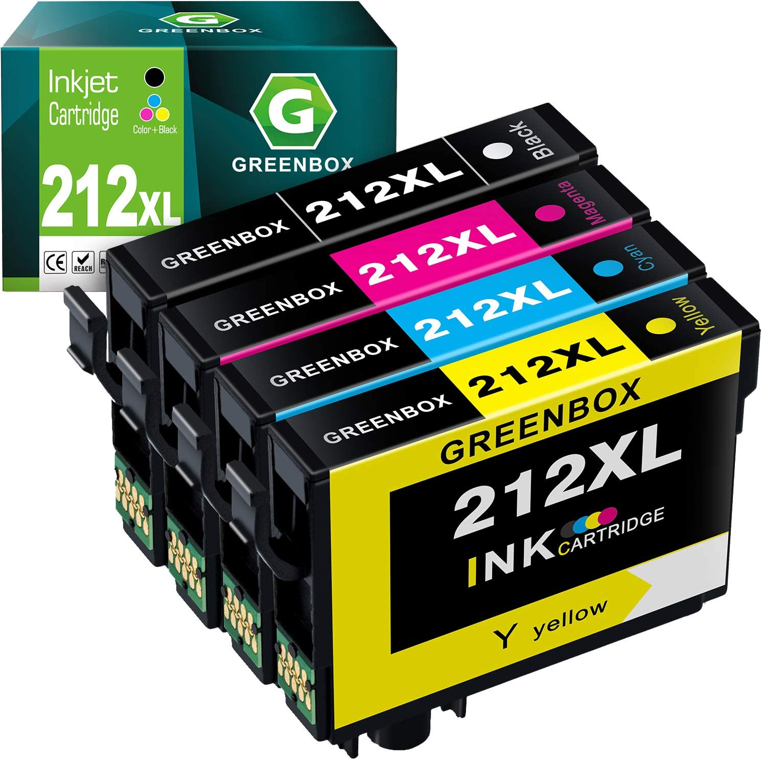 GREENBOX Remanufactured Ink Cartridge Replacement for Epson 212XL 212 XL Used in Workforce WF-2850 WF-2830 Expression Home XP-4100 XP-4105 Printer (1 Black 1 Cyan 1 Magenta 1 Yellow)