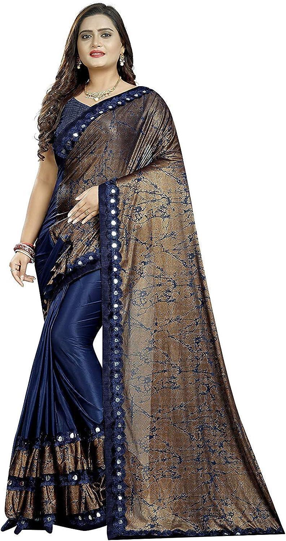 Mahalaxmi Fashion Printed Bollywood Silk Blend Ruffle Frill Saree Blue