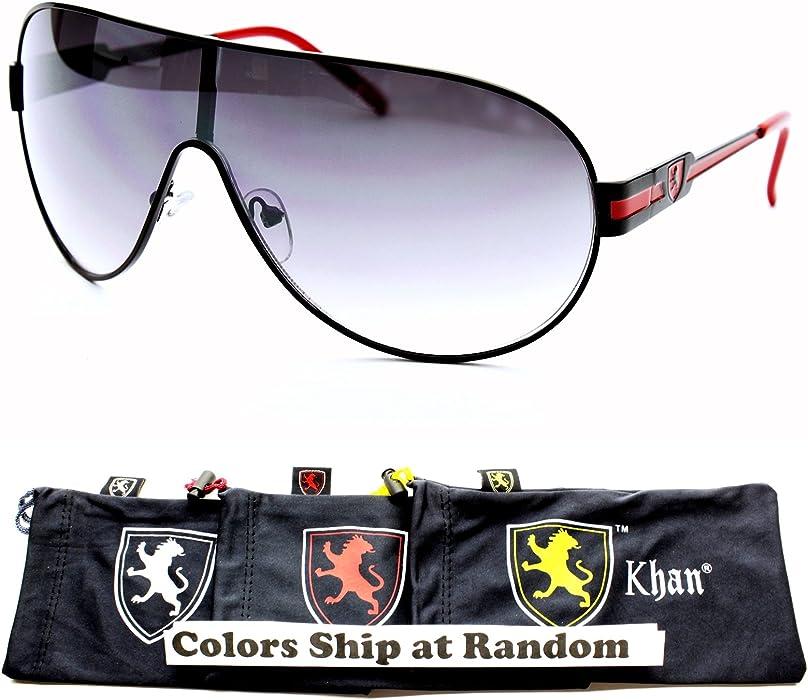 0696505e95c A153-kp Khan Brand Lion Logo Aviator Pilot Vintage Sunglasses (1067 Black  Red