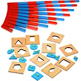 MagiDeal Wooden Montessori Mini Numerical Rods Family Set with Geometric Peg Puzzles Set Kids Early Learning Educational Toys