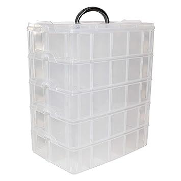 détaillant en ligne ea360 73fc6 Boîte Rangement Plastique 5 Étages - H 29,5 x L 24 xl 15cm Boites  Empilables Transparent avec 50 Compartiments Amovibles et Poignée  Organisation pour ...