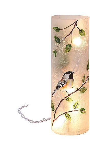 amazon com transpac large round glass bird vase with led lights