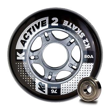 K2 Active 30B3008.1.1.1SIZ - Juego de 8 Ruedas para Patines en línea, 76 mm, ILQ 5, tamaño único: Amazon.es: Deportes y aire libre