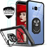 LeYi Samsung Galaxy S8 Case with 3D PET Screen Protector [2 Pack], Clear Crystal Military Grade Protective Phone Case with Ring Car Mount Kickstand for Samsung S8, Black