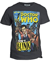 "BBC Doctor Who: ""Don't... BLINK"" T-Shirt (EXCLUSIVE) - David Tennant's 10th Doctor & Weeping Angels Comic Book Tee"