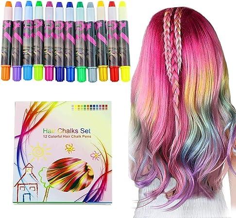halloween Buluri 12 colores Set de tiza para el cabello,Tinte para el cabello plumas de tiza profesionales para el cabello, plumas de tinte para el ...