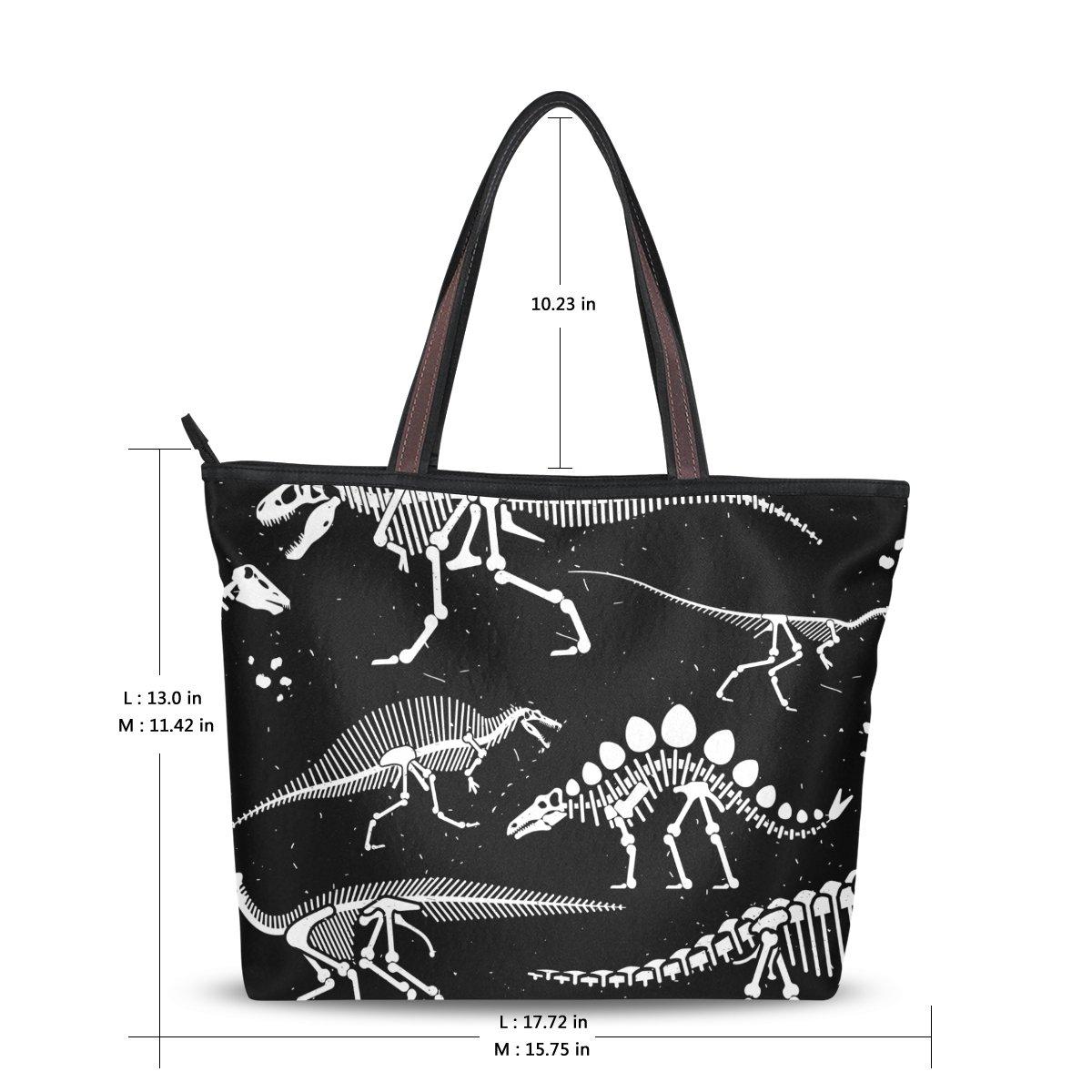 3283fb0e10e6 Amazon.com: WIHVE Dinosaur Skeleton Women's Tote Bag Top Handle Satchel  Handbags Shoulder Bags: Shoes