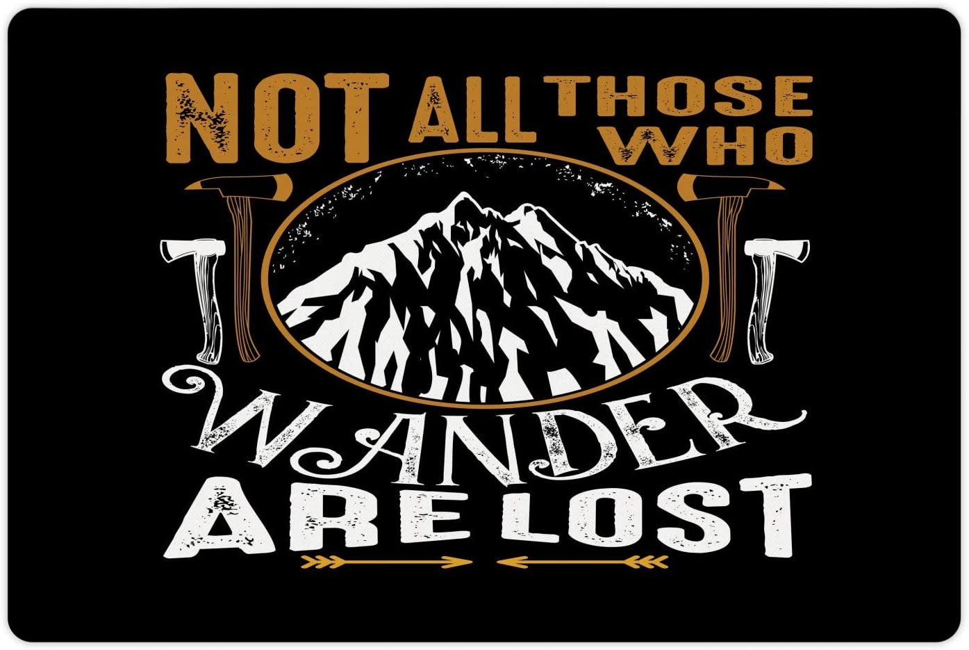 Lunarable Not All Who Wander are Lost Pet Mat for Food and Water, Traveling Themed Lettering on Dark Background, Non-Slip Rubber Mat for Dogs and Cats, 18