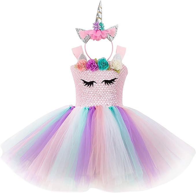 Mädchen Einhorn Tutu Kleid Kinder Prinzessin Party Kleider Casual Sommerkleid