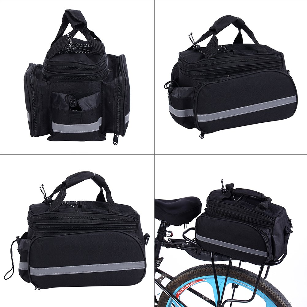 Rainproof Cover Black Practical Bicycle Rear Seat Trunk Handbag Expandable Excursion Cycling Carrying Luggage with Reflective Stripe Bike Pannier Bag