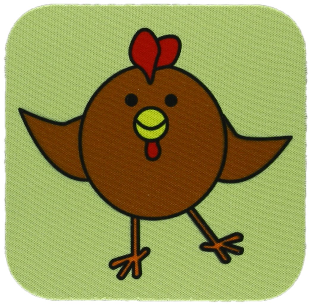 3dRose cst_10793_1 Cute Brown Chicken Dance with Green Background Soft Coasters, Set of 4