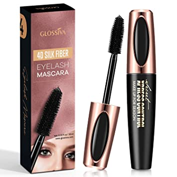 AsaVea 4D Silk Fiber Lash Mascara Waterproof, Luxuriously Longer, Thicker, Voluminous Eyelashes, Long-Lasting, Dramatic Extension, Smudge-proof, Hypoallergenic Formula by Glossiva (Black)
