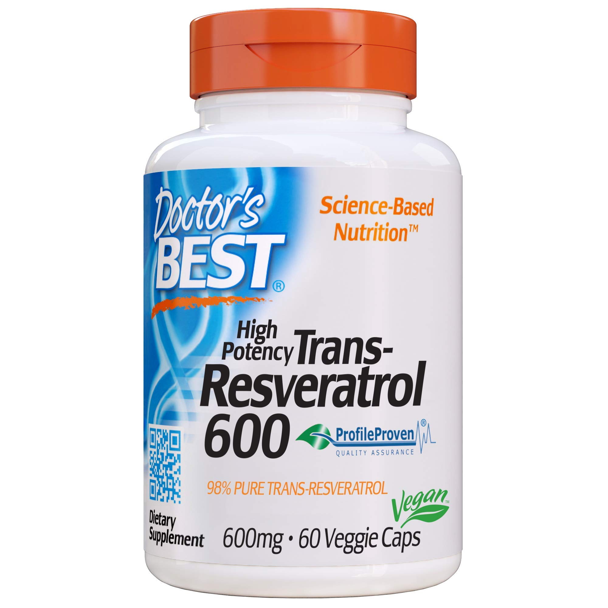Doctor's Best Trans-Resveratrol 600, Non-GMO, Vegan, Gluten Free, Soy Free, 600 mg, 60 Veggie Caps by Doctor's Best