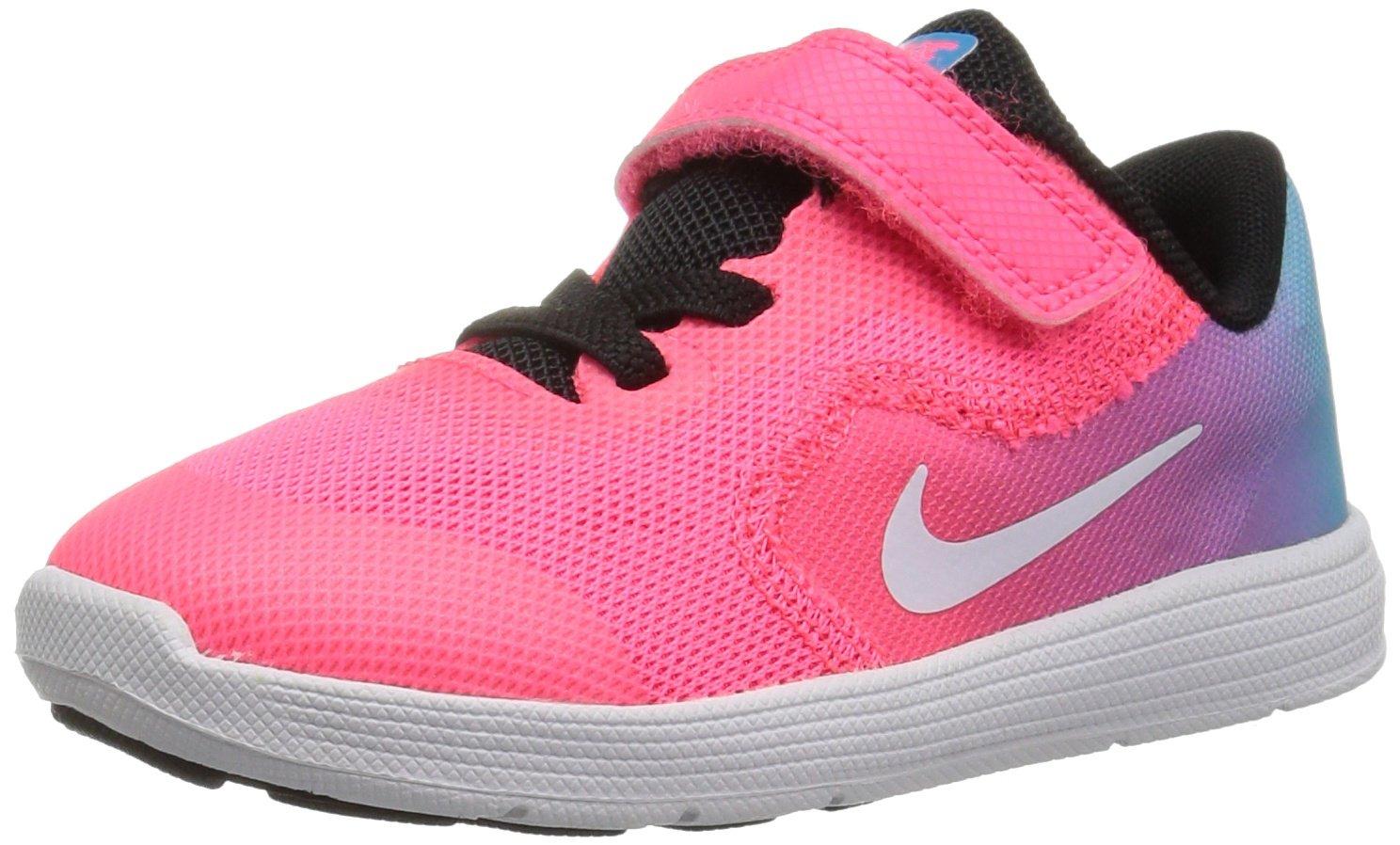 NIKE Kids' Revolution 3 (TDV) Running Shoe, Chlorine Blue/White/Racer Pink/Black, 9 M US Toddler