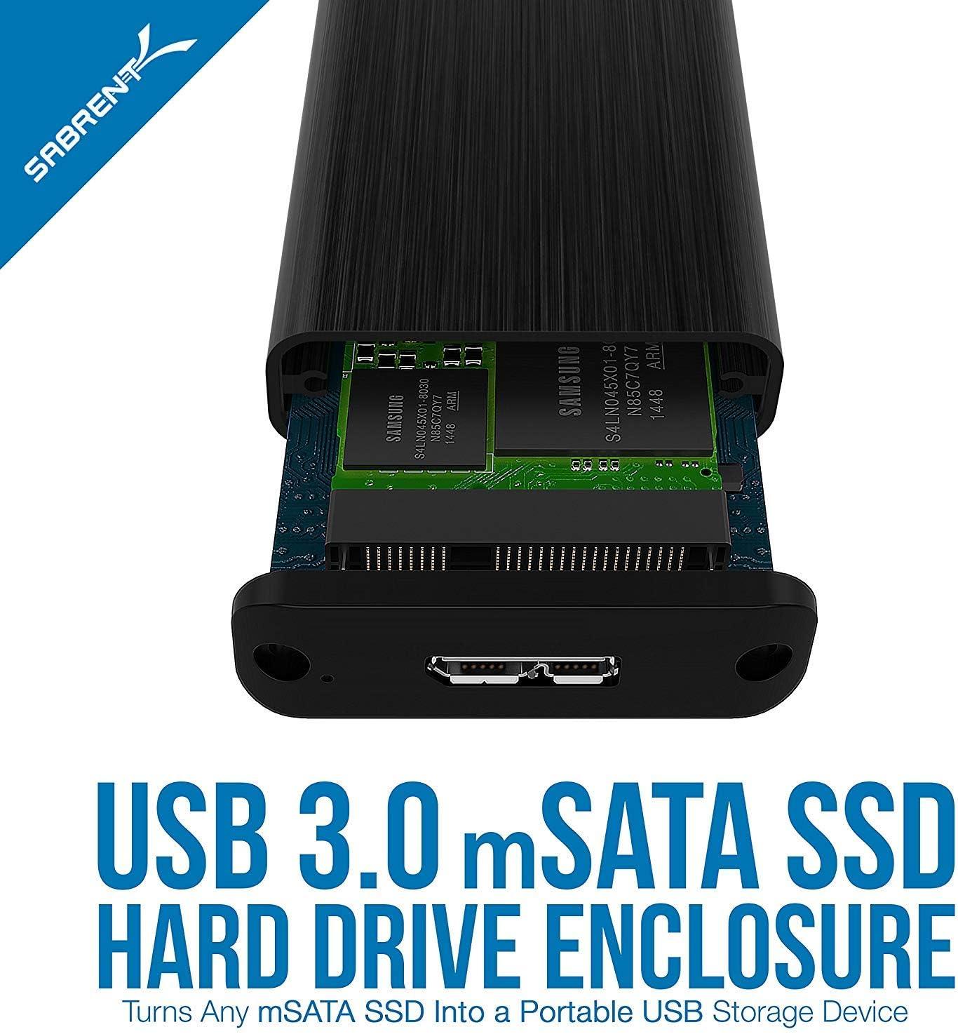 Sabrent USB 3.0 mSATA II or III//6G SSD Enclosure Adapter EC-UKMS Support UASP