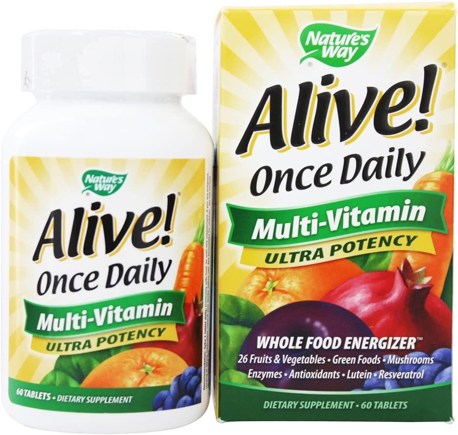 Nature s Way Alive Once Daily Adult Multivitamin, Ultra Potency, Food-Based Blends 120 Tablets