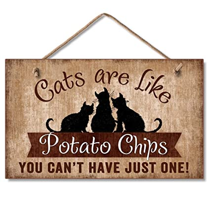 233aaa9f6 Amazon.com: Highland Graphics Cats Are Like Potato Chips Humorous Sign  Multi: Home & Kitchen