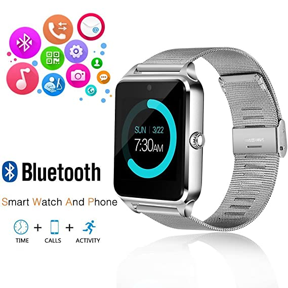 Smart Watch MINGYI MY09 Replaceable Band Bluetooth Smart Watch Call Sync and Handfree Support Android 4.2 or abouve and Iphone5s/6/6s/7/7s (Silver)