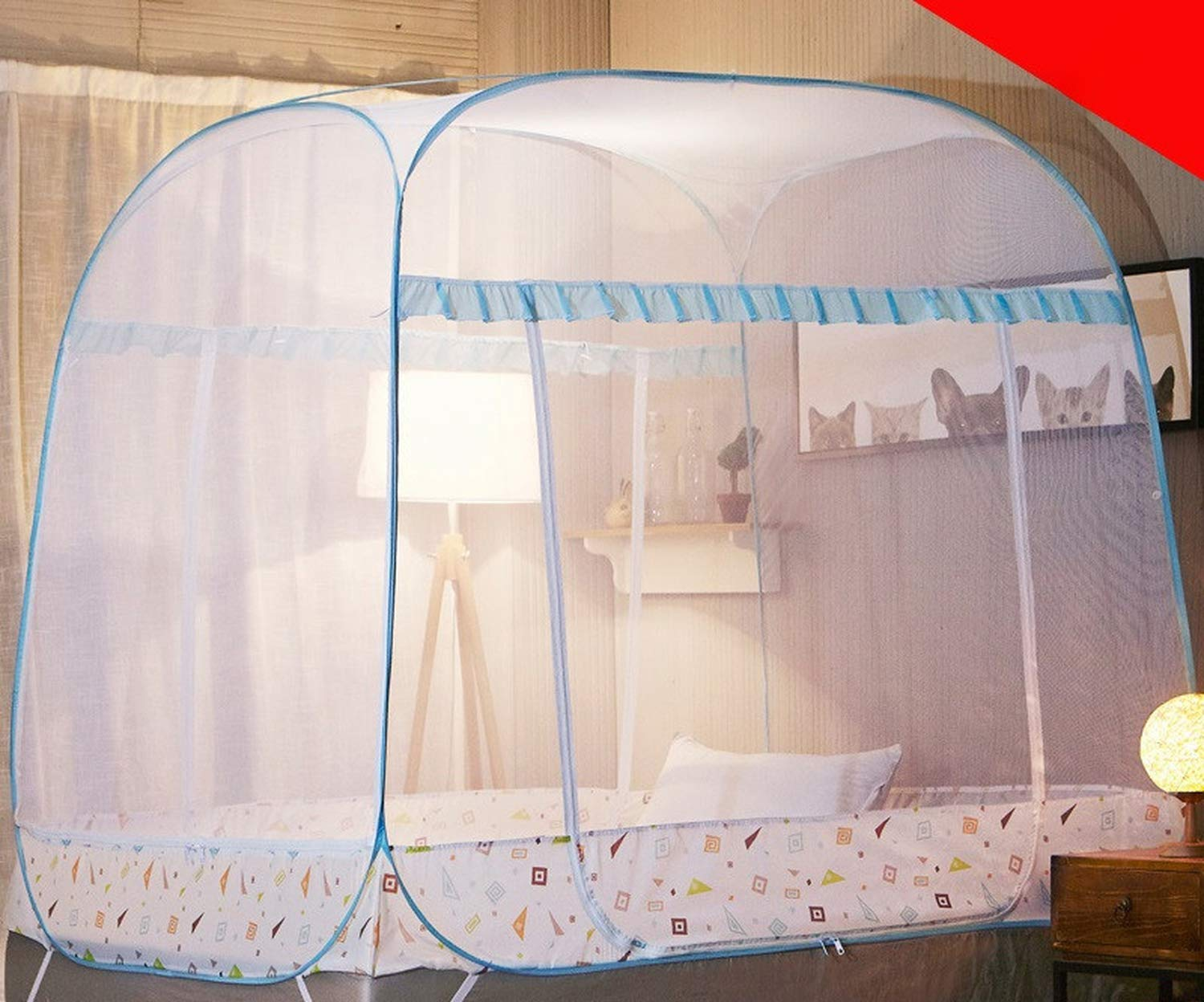 Romantic Elegant Mosquito Net for Home Decor 1.5 1.8m Double Bed Net Princess Bed Mosquito Net Tent Mesh Netting,Green Full-Bottom,1.8m (6 feet) Bed by SuWuan mosquito net (Image #5)