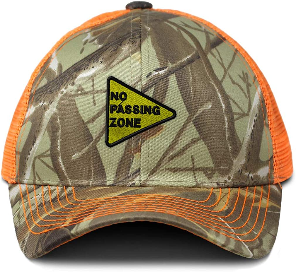 Custom Camo Mesh Trucker Hat No Passing Zone Sign Embroidery Cotton One Size