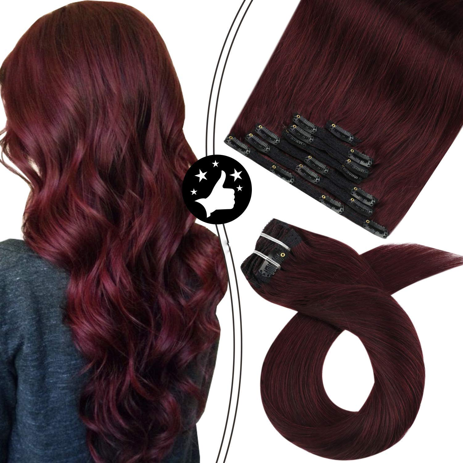 Inch Wine Red Clip in Hair Extensions Human Hair Natural Double Weft Remy Hair Clip in Extensions