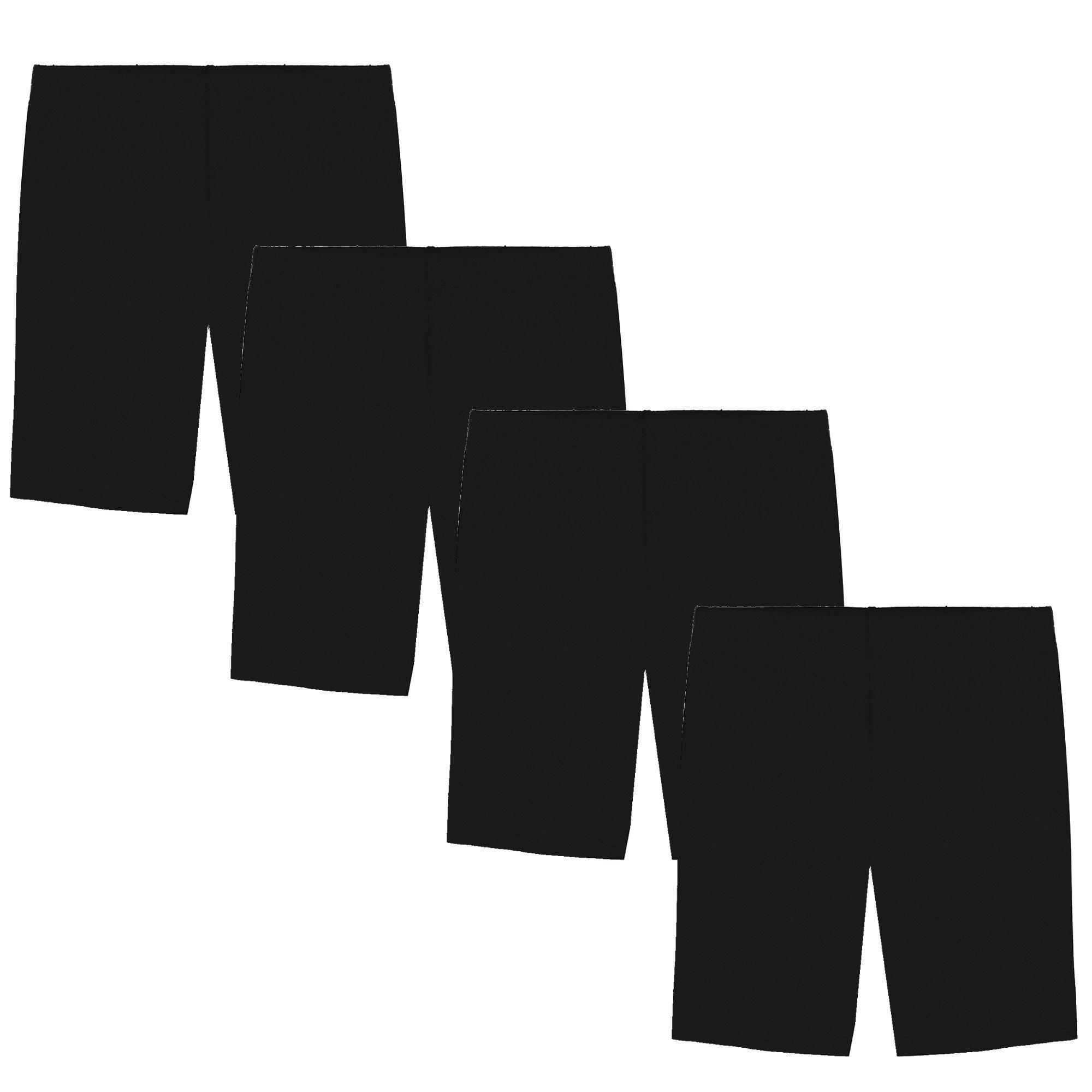 Popular Girl's Value Pack Long Cotton Bike Shorts - 4 Pack - All Black - M