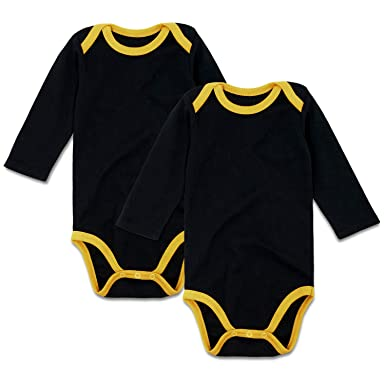 92e5d6d48e SOBOWO Plain Baby Football Sport Jersey Long Sleeve Bodysuit for Boys Girls  2 Pack (0