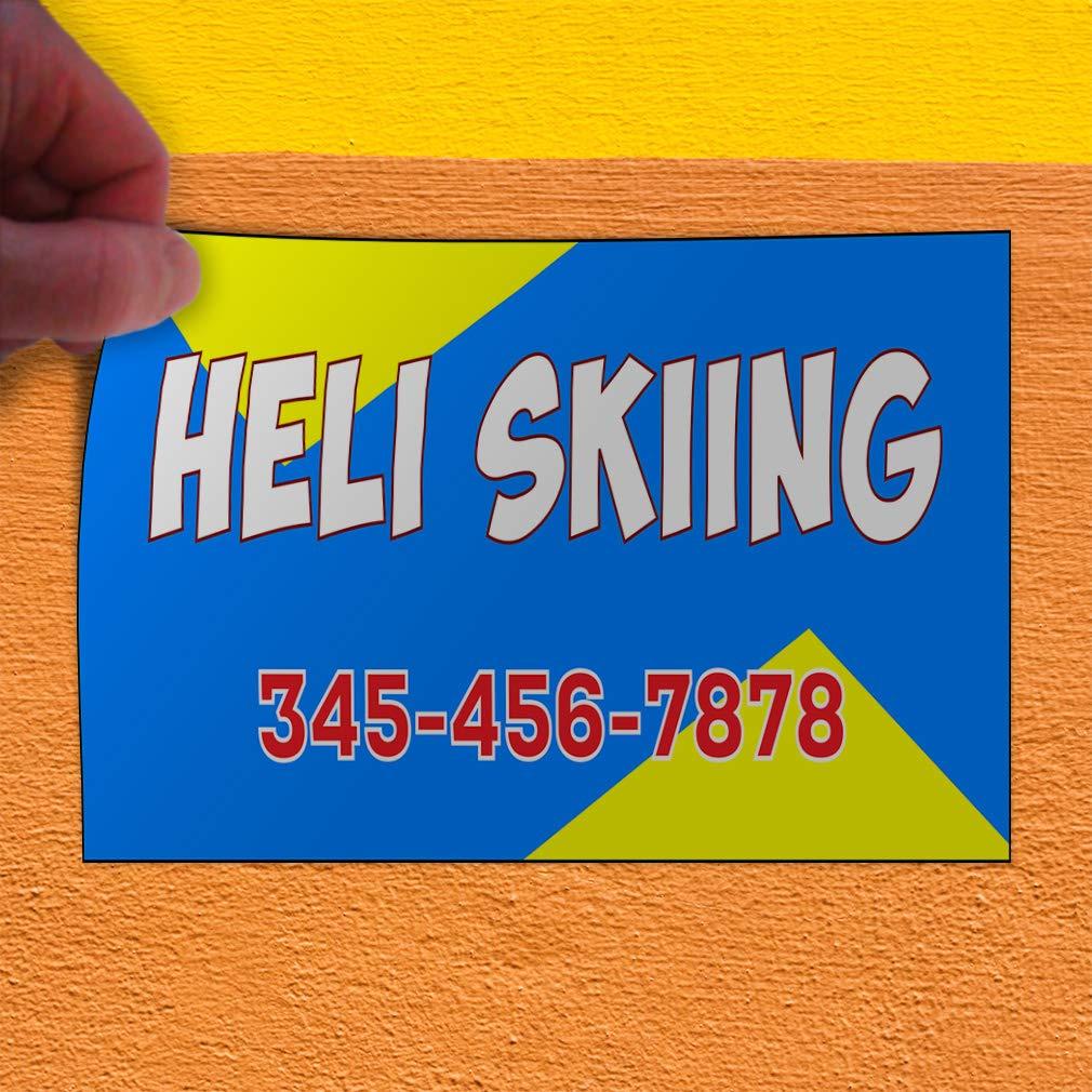 Custom Door Decals Vinyl Stickers Multiple Sizes Heli Skiing Phone Number Blue Yellow Hobbies Heli Skiing Outdoor Luggage /& Bumper Stickers for Cars Blue 34X22Inches Set of 5