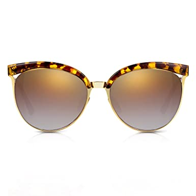 2fdc1df366 Sunglass Junkie Womens Gold and Tortoiseshell Clubmaster Cat Eye Sunglasses.  100% UV Protection Gradient