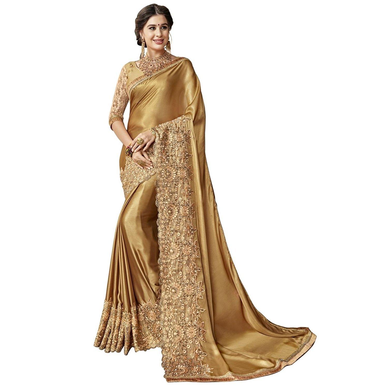 Mohit Creations Weddingwear Designer Saree with Unstitched Blouse (Golden)